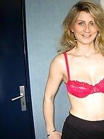 Hungry MILF Sandrine poses and sucks cock